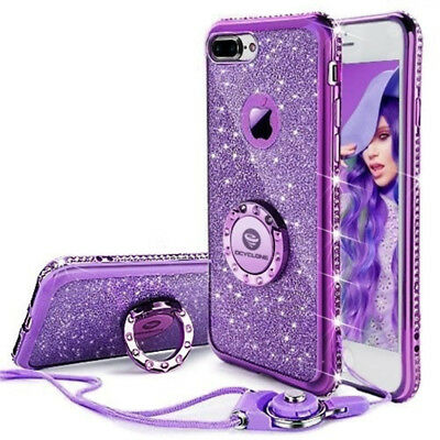 Fashion New Glitter Cute Girls with Kickstand Hanging rope Phone Case For IPhone
