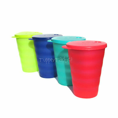Tupperware NEW Large Alfresco Impressions Tumblers Matching Straw Seals 500ml