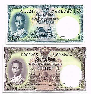 LOT OF TWO 1955-56 THAILAND 1 & 5 BAHT NOTES - p74,75