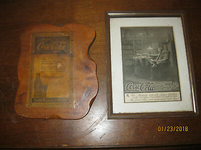 """TWO  Coca-Cola Wall Hangings Wooden Plaque & Glass Frame 9"""" x 11"""""""