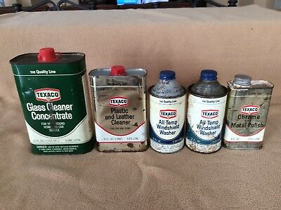 Five Vintage Texaco cans, glass cleaner, windshield wash, polish and cleaner