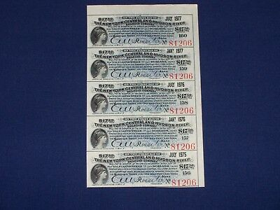 New York Central and Hudson River Bond Coupons. Sheet of 20. Blue