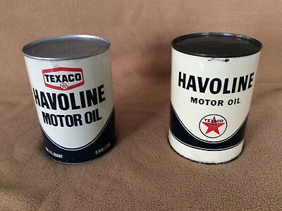Two full vintage Texaco quart oil cans in good condition