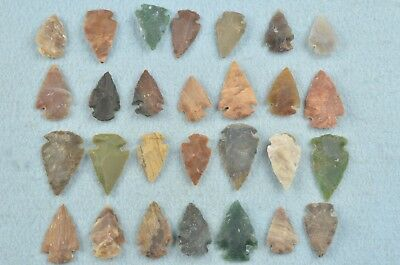 """28 PC Flint Arrowhead Ohio Collection Points 1"""" Spear Bow Knife Hunting Blade"""