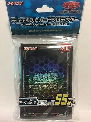 Yugioh Official Card Sleeve Protector : Black Ver.2 / 55pcs japan F/S