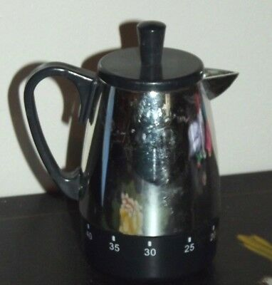 Coffee Pot Kitchen Timer Silver Chrome and Black 60 Minute 1 Hour Vintage