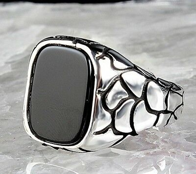 Turkish 925 Sterling Silver Special black onyx stone men Micro ring ALL SİZE us