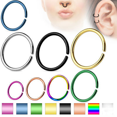 Cartilage Tragus Septum Nose Hoop Ring C Shaped Titanium Annealed 14,16,18,20 G