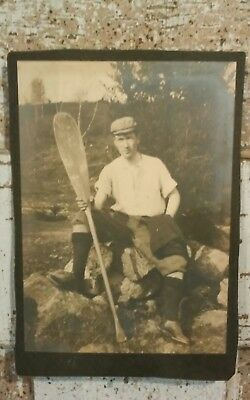Wonderful & Interesting Genuine Unframed Antique Photo of Man With Oar/Paddle!