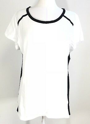 55edaa8e5c7 Women s Plus White   Black Cotton Spandex Stretch Active Tee Top 1X-2X-3X