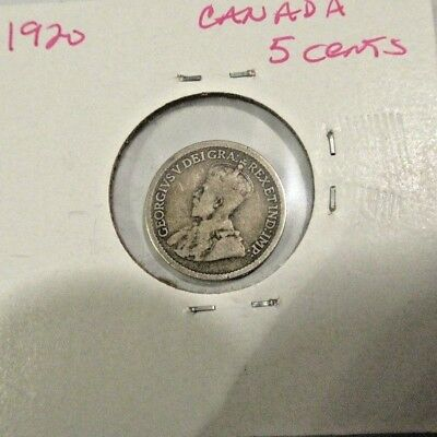 Rare - Canada - Silver 1920 Five Cent Coin