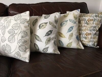 "Leaf Patterned Cushion Covers in Neutral Colours 16"" x 16"""