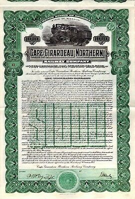 Cape Girardeau Northern Railway Company of Missouri 1913 $1000 Bond Certificate