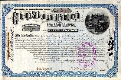 Chicago St Louis & Pittsburgh Rail Road Company 1886 Stock Certificate - cuts