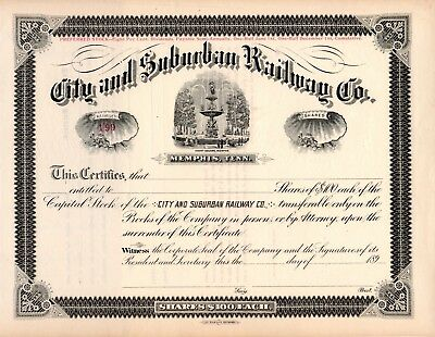 City and Suburban Railway Company of Memphis, Tennessee 1890s Stock Certificate