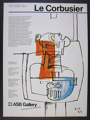 1988 Le Corbusier painting art exhibition ASB Gallery vintage print Ad