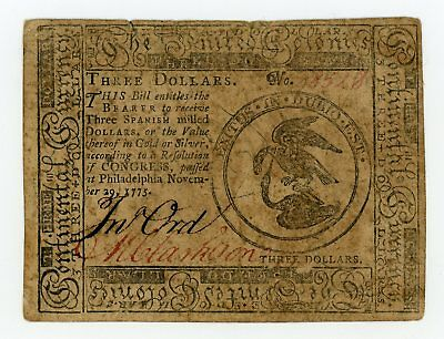 (CC-13) November 29, 1775 $3 Continental Currency Note