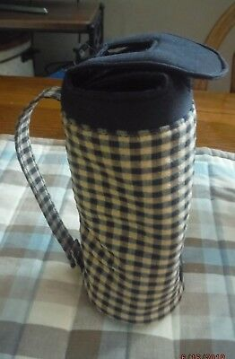 Longaberger Homestead Exclusive Water Bottle Holder in Khaki Check