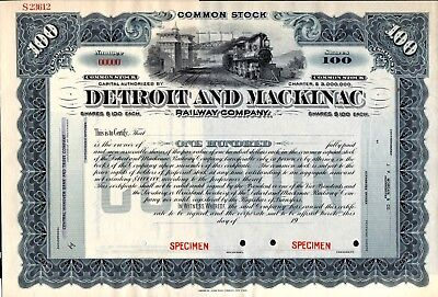 Detroit and Mackinac Railway Company 19??'s SPECIMEN Stock Certificate blue