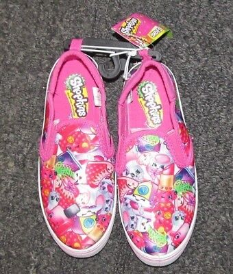 Shopkins Girls' Casual Slip On Canvas Shoes Girls Size 2, 3 NWT