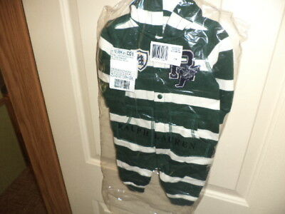 New With Tags, Ralph Lauren Striped Fleece Hoodie Size 3 Mo