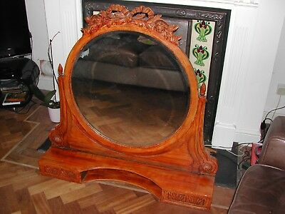 Very Large Victorian Bevelled Edge Dressing Table Swing Mirror