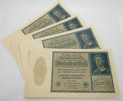 Lot of 4 German 10000 Mark 1922 Reichsbanknote Reichsmark Consecutive Bank Notes