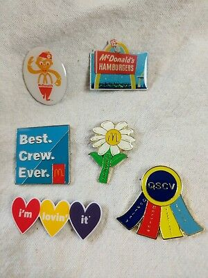 Lot Set Of 6 McDonalds Lapel / Hat / Shirt Pins