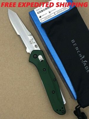 "New Benchmade 940S Osborne Combo Edge Stainless 3.40"" Blade Green Aluminum Knife"