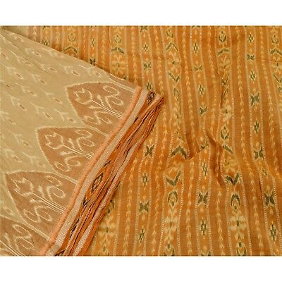 Sanskriti Vintage Saree Woven Patola 5 Yd Sari Fabric Pure Cotton Soft Brown