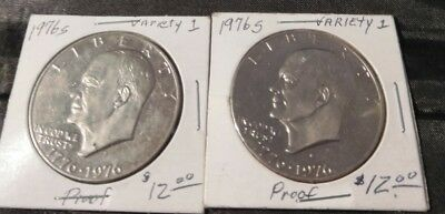 Lot Of 2 Ike Eisenhower Silver Dollars Choice Proof Variety 1   40%
