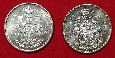 Lot of 2 UNC 1966 Canadian Silver Half Dollars Fifty Cent Coin
