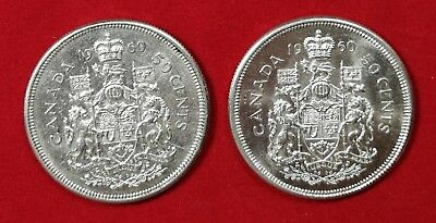 Lot of 2 UNC 1960 Canadian Silver Half Dollars Fifty Cent Coin