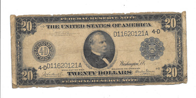 1914 $20 Large Federal Reserve Bank Cleveland Ohio