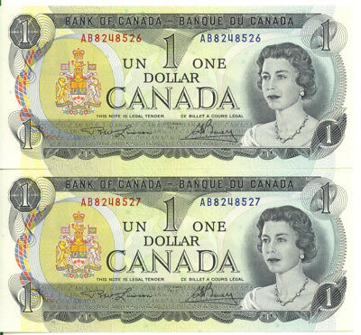 Bank of Canada 1973 $1 One Dollar Consecutive Pair UNC Lawson- Bouey AB Prefix