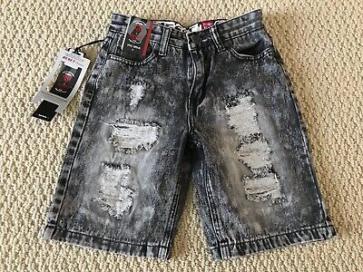 NWT Boy's Reset Gray Acid Wash Distressed Ripped Denim Jean Shorts SIZES 8-18