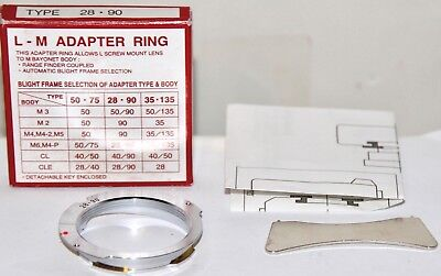 Leica Copy L-M Screwmount to M Adapter Ring For 28-90mm Framelines Made In Japan