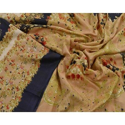 Sanskriti Antique Vintage Cream Saree 100% Pure Silk Printed Sari Craft Fabric