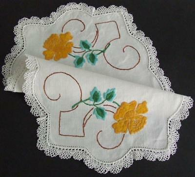 Lovely Vintage Hand Embroidered Centre - Golden Roses - Lace Edging