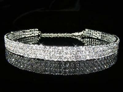Prom 3 Rows made with Swarovski Crystal Silver Plated Choker Necklace Xmas 1062