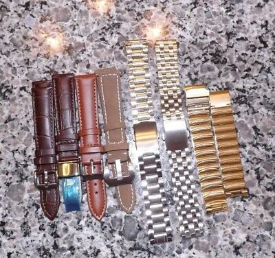 Lot of 7 Men's 18mm leather and Metal watchbands