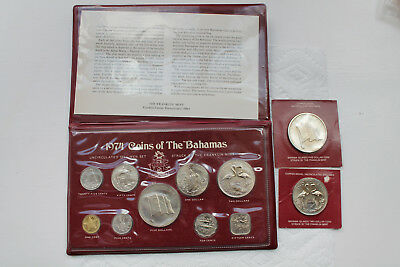 Bahamas Uncirculated Coin Set 1974 (9coins), 2 Dollars,5 Dollars 1974, total 11