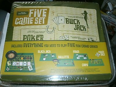 8#    Wembley Casino & Lounge 5 Game Set Roulette Black Jack Craps Poker Sealed