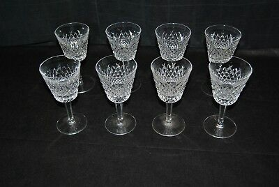 "Eight Waterford Ireland Cut Crystal Wine Glasses Alana Claret 5 7/8""  Stemware"