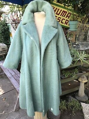 Vtg Lilli Ann Swing Coat 50s 60s Rockabilly VLV Womens Coat Mohair Baby Blue