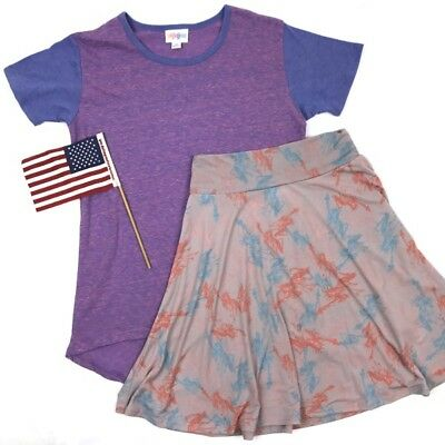 NWT LuLaRoe Girls Azure Skirt Americana sz 10 - 4th of July Patriotic Outfit