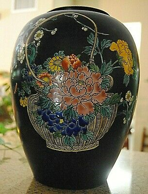 Chinese Black Tapering Ovoid Porcelain Vase with basket filled with flowers