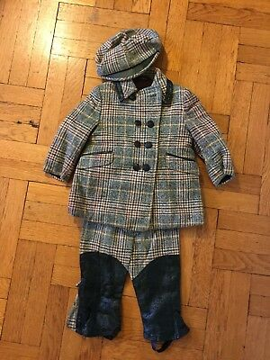VINTAGE Solitaire Boys Green Tweed Wool Plaid Riding Pants Jacket Cap 2T