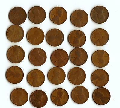 One Half Roll (25) Of Wheat Cents,  All 1915-P