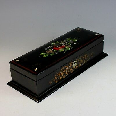 Antique French Napoleon III Ebonized Dresser Box with Inlaid Mother of Pearl